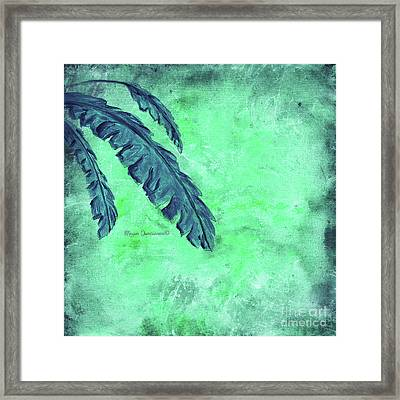 Abstract Floral Fauna Banana Leaf Tropical Aqua Splash Abstract Art By Megan Duncanson  Framed Print