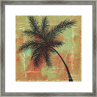 Abstract Floral Fauna Palm Tree Leaf Tropical Palm Splash Abstract Art By Megan Duncanson  Framed Print