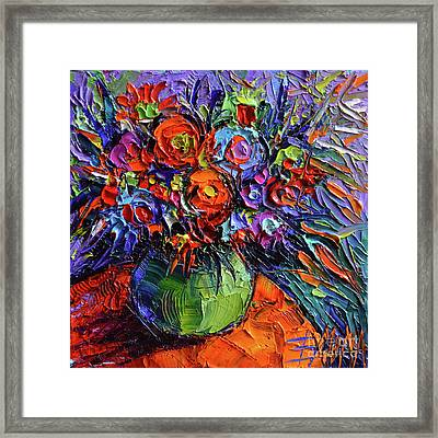 Abstract Floral On Orange Table - Impasto Palette Knife Oil Painting Framed Print