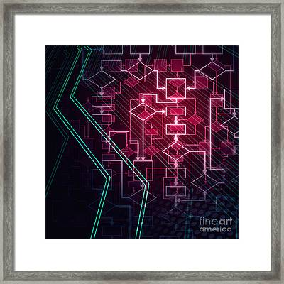 Abstract Flowchart Background Framed Print