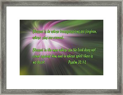 Abstract Flower With Psalms Framed Print by Linda Phelps