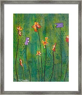 Abstract Flowers Orange, Purple Framed Print by Patricia Cleasby