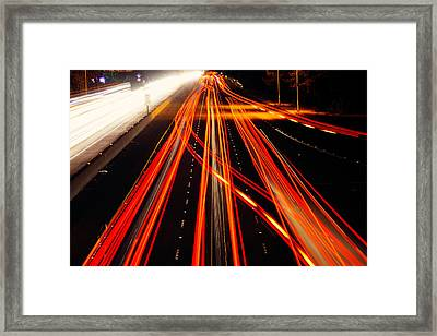 Abstract Freeway Lights Framed Print by Garry Gay
