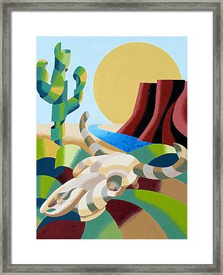 Abstract Futurist Soutwestern Desert Landscape Oil Painting  Framed Print by Mark Webster