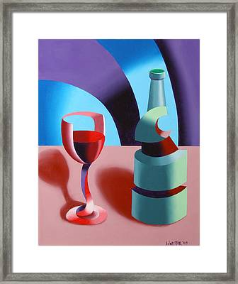 Framed Print featuring the painting Abstract Futurist Wine And Glass Still Life Oil Painting by Mark Webster