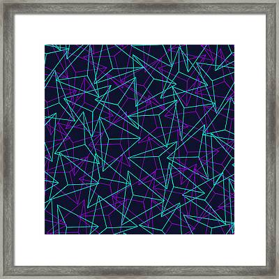 Abstract Geometric 3d Triangle Pattern In Turquoise Purple Framed Print by Philipp Rietz