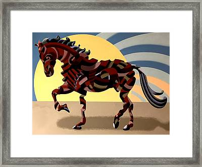 Framed Print featuring the painting Abstract Geometric Futurist Horse by Mark Webster