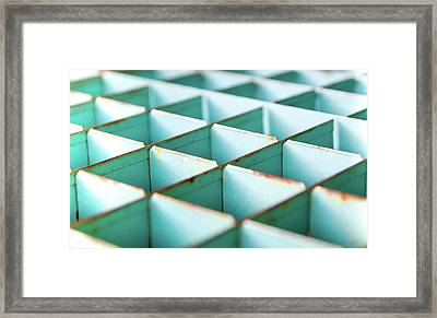 Abstract Geometric Shapes Art - Vintage Storage Cubes Framed Print by Wall Art Prints