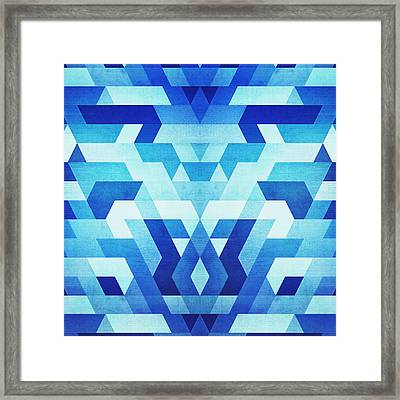 Abstract Geometric Triangle Pattern Futuristic Future Symmetry In Ice Blue Framed Print by Philipp Rietz