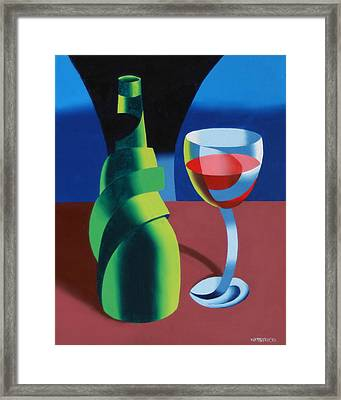 Abstract Geometric Wine Glass And Bottle Framed Print by Mark Webster