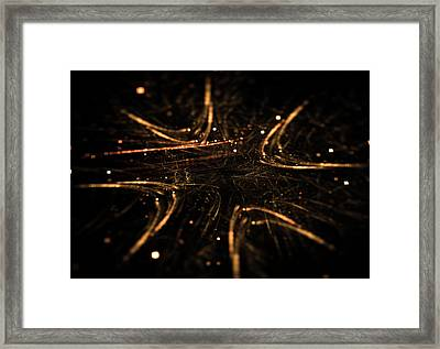 Abstract Glowing Arrows Shape Pointing Inside Framed Print
