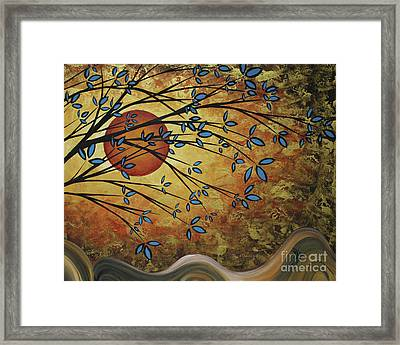 Abstract Golden Landscape Art Original Painting Peaceful Awakening I Diptych Set By Megan Duncanson Framed Print