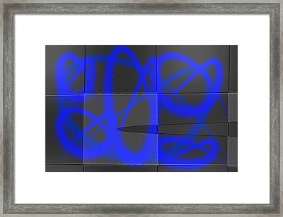 Abstract Graffitis In Blue Framed Print by Martine Affre Eisenlohr
