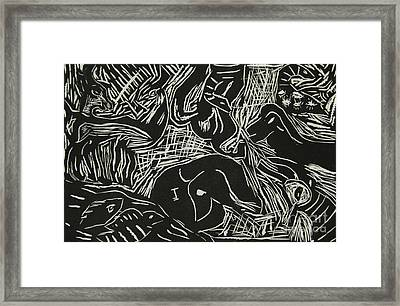Abstract Greece Inspired Black And White Linoleum Print Cropped Framed Print by Marina McLain