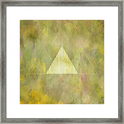 Abstract Green And Gold Triangles Framed Print by Brandi Fitzgerald