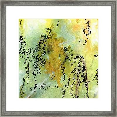 Framed Print featuring the painting Abstract Green And Yellow  by Ginette Callaway