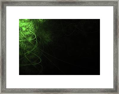 Abstract Green Background With Wavy Lines Framed Print