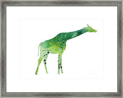 Abstract Green Giraffe Minimalist Painting Framed Print