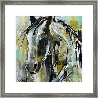 Framed Print featuring the painting Abstract Green Horse by Cher Devereaux