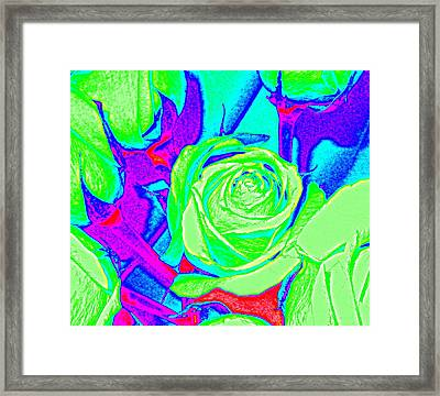 Abstract Green Roses Framed Print