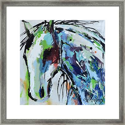 Framed Print featuring the painting Abstract Horse 18 by Cher Devereaux