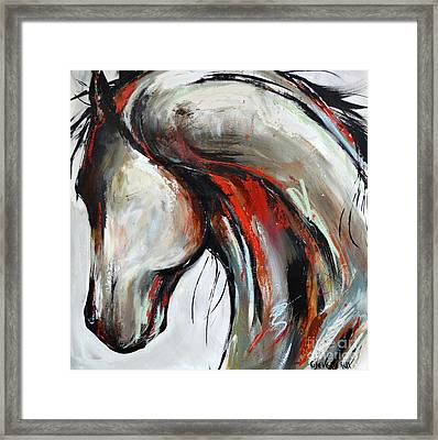 Framed Print featuring the painting Abstract Horse 21 by Cher Devereaux