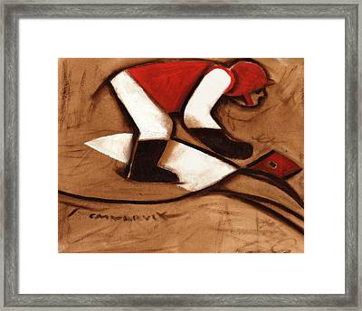Abstract Horse Racing Jockey Art Print Framed Print by Tommervik