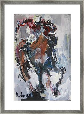 Framed Print featuring the painting Abstract Horse Racing Painting by Robert Joyner