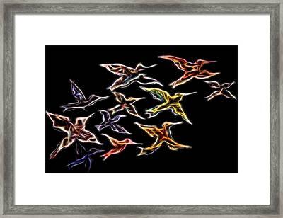 Abstract Hummingbirds Framed Print