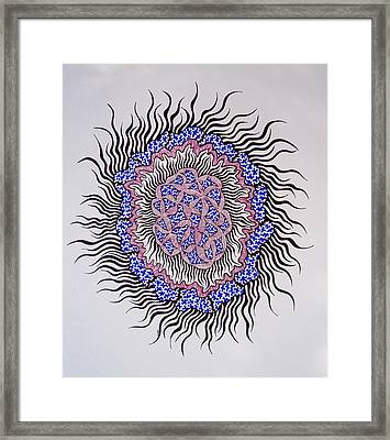 Framed Print featuring the drawing Abstract In Blue And Magenta by Beth Akerman