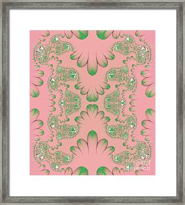 Framed Print featuring the digital art Abstract In Pink And Green by Linda Phelps