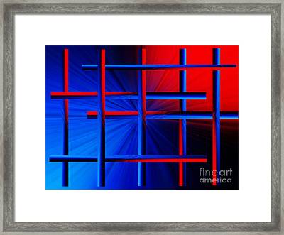 Abstract In Red/blue 3 Framed Print