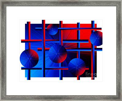 Abstract In Red/blue Framed Print by Trena Mara