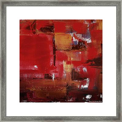 Abstract In Red Framed Print by Gina De Gorna