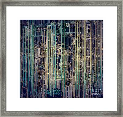 Abstract Industrial And Technology Background Framed Print by Michal Bednarek