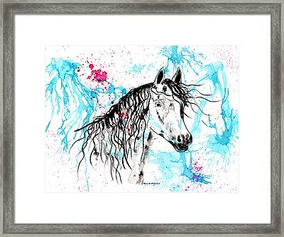 Abstract Ink - Black Arab Horse Framed Print by Michelle Wrighton