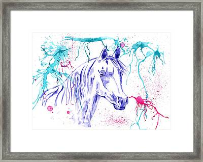 Abstract Ink - Purple Arabian Horse Framed Print by Michelle Wrighton