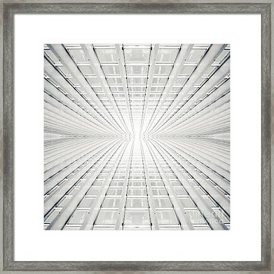 Abstract Interior With Concrete Arcs In Black And White Framed Print by Caio Caldas