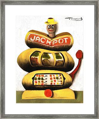 Abstract Jackpot Slot Machine Art Print Framed Print by Tommervik