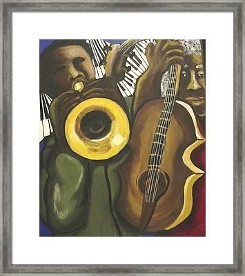Abstract Jazz Duo Framed Print by Renie Britenbucher