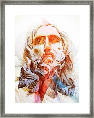 Framed Print featuring the painting Abstract Jesus 2 by J- J- Espinoza