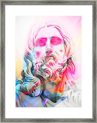 Framed Print featuring the painting Abstract Jesus 4 by J- J- Espinoza