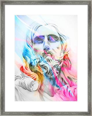 Framed Print featuring the painting Abstract Jesus 5 by J- J- Espinoza
