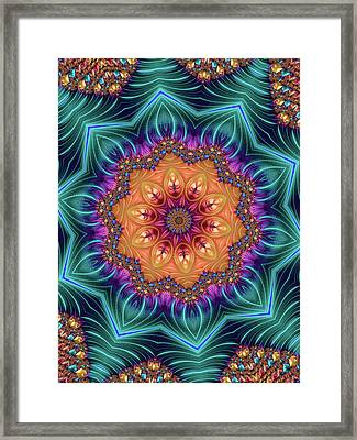 Framed Print featuring the digital art Abstract Kaleidoscope Art With Wonderful Colors by Matthias Hauser
