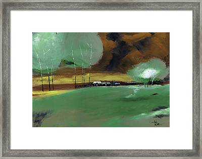 Framed Print featuring the painting Abstract Landscape by Anil Nene