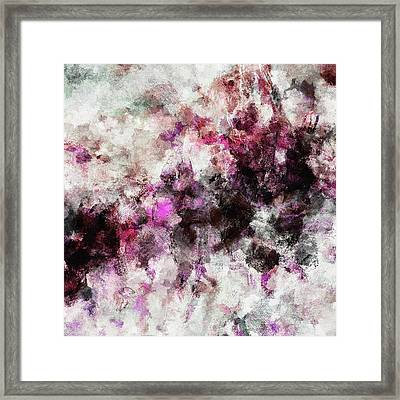 Framed Print featuring the painting Abstract Landscape Painting In Purple And Pink Tones by Ayse Deniz