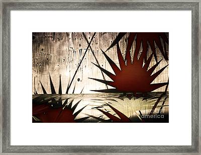 Abstract Landscape With Red Leaves And The Water Framed Print by Elena Lir-Rachkovskaya