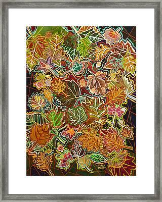 Abstract Leaves Framed Print by Karen Merry