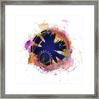 Abstract London Skyline At Night Framed Print