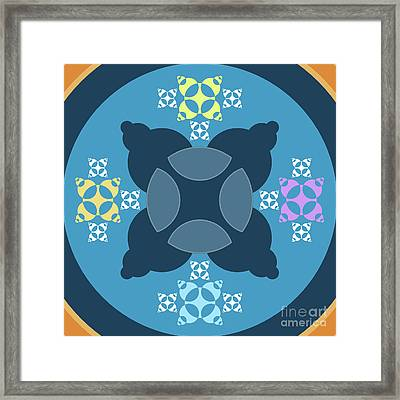 Abstract Mandala Blue, Orange And Cyan Pattern For Home Decoration Framed Print by Pablo Franchi